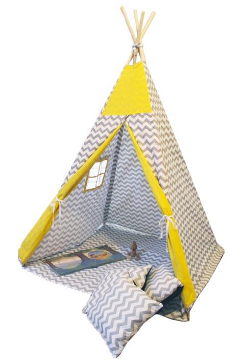 Namiot TIPI - Zygzak szary żółty