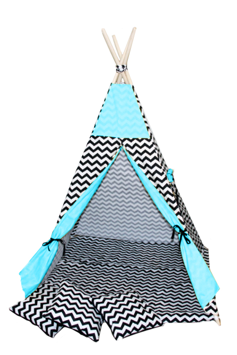 Namiot TIPI - Zygzak czarny turkus