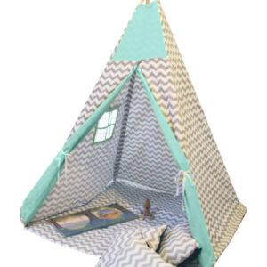 Namiot TIPI - Zygzak szary mięta