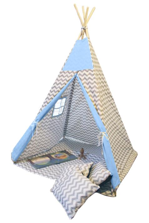 Namiot TIPI - Zygzak szary niebieski