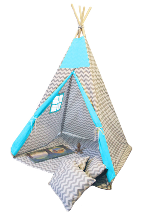 Namiot TIPI - Zygzak szary turkus