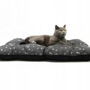 Legowisko dla kota XL 100x70 cm srebrne wzorki